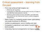 critical assessment learning from the past