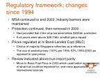 regulatory framework changes since 1994