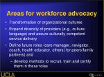 areas for workforce advocacy