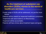 as the treatment of substance use disorders suds moves to the world of healthcare services