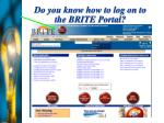 do you know how to log on to the brite portal