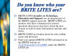 do you know who your brite lites are