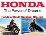 honda of south carolina mfg inc