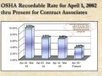 osha recordable rate for april 1 2002 thru present for contract associates