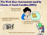 the work keys assessments used by honda of south carolina hsc