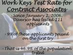 work keys test rate for contract associates