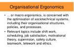 organisational ergonomics