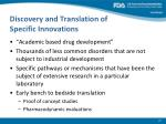 discovery and translation of specific innovations