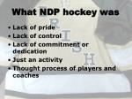 what ndp hockey was