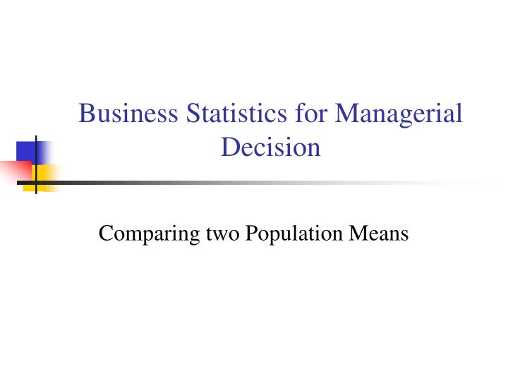 business statistics for managerial decision n.