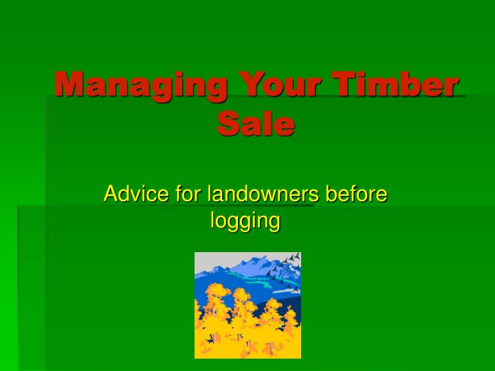 Managing your timber sale