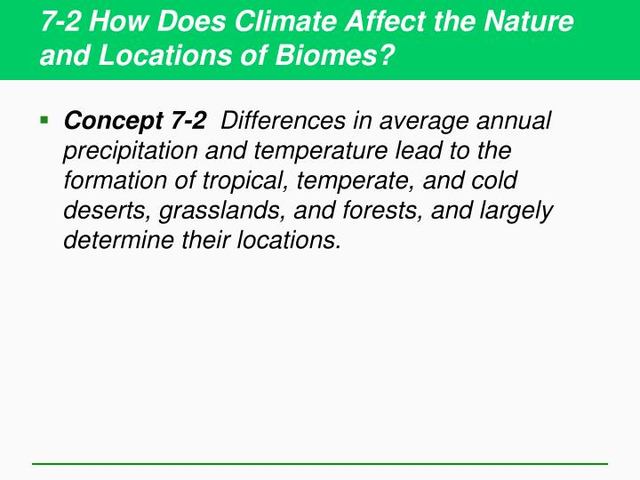 7 2 how does climate affect the nature and locations of biomes n.