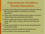 organizing the terranova answer documents