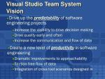visual studio team system vision