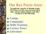 our key focus areas