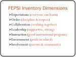 fepsi inventory dimensions