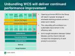unbundling wcs will deliver continued performance improvement
