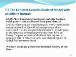 7 3 the constant growth dividend model with an infinite horizon4