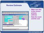 review estimate