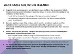significance and future research
