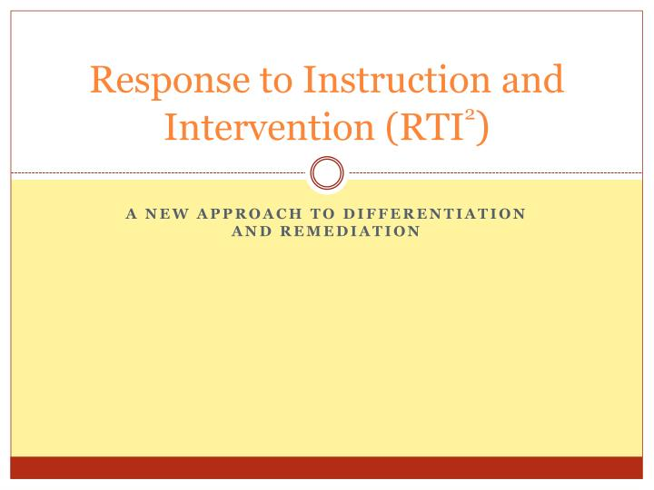 response to instruction and intervention rti 2 n.