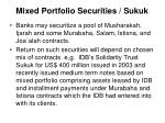 mixed portfolio securities sukuk