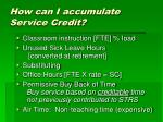 how can i accumulate service credit