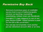 permissive buy back