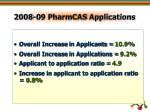 2008 09 pharmcas applications