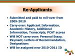 re applicants