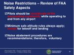 noise restrictions review of faa safety aspects