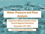 water pressure and flow analysis