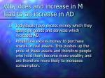 why does and increase in m lead to an increase in ad