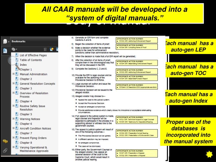 """All CAAB manuals will be developed into a """"system of digital manuals."""""""