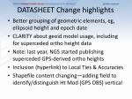datasheet change highlights