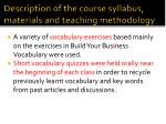 description of the course syllabus materials and teaching methodology1