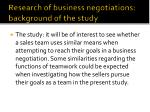 research of business negotiations background of the study