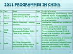 2011 programmes in china
