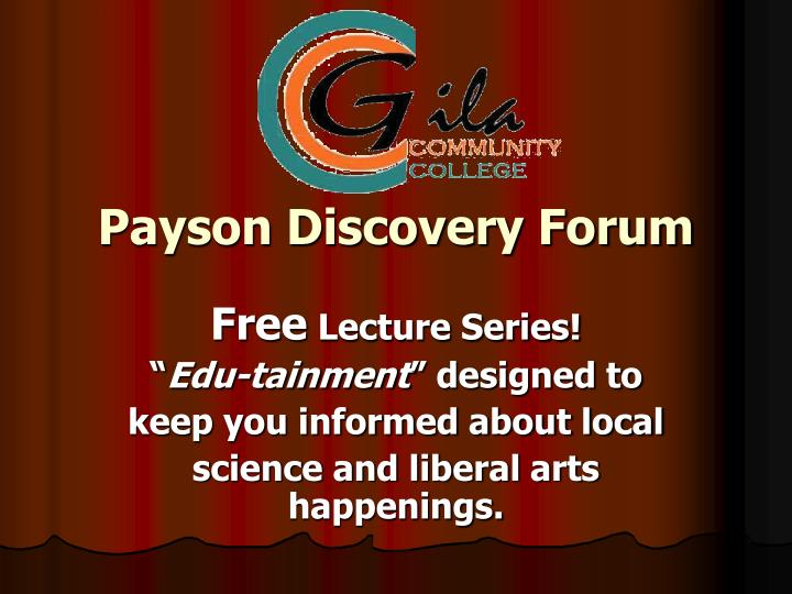 payson discovery forum n.
