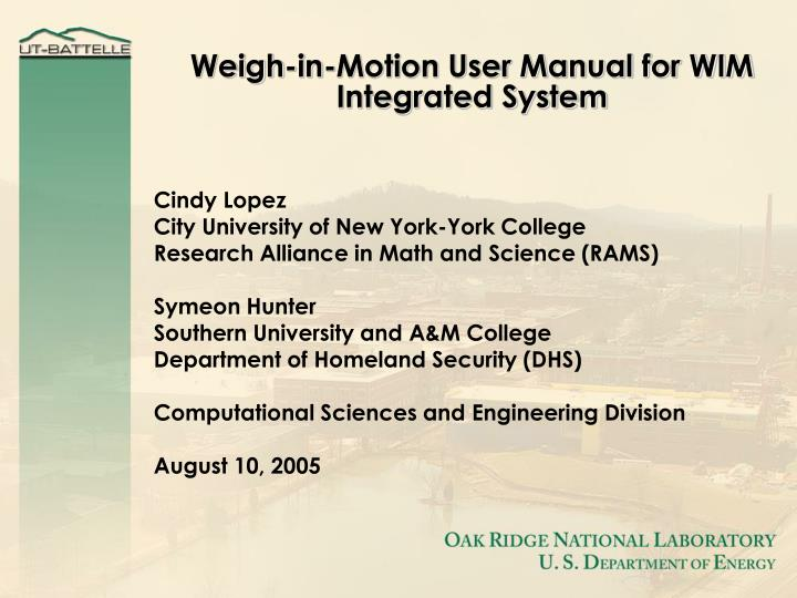 weigh in motion user manual for wim integrated system n.