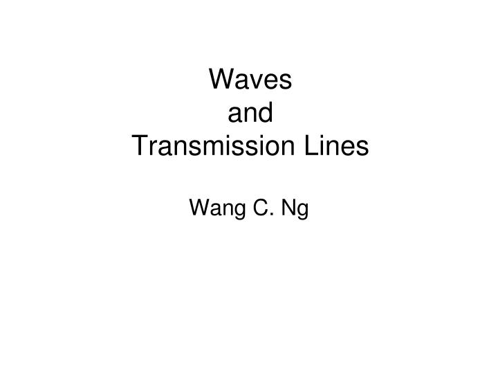 waves and transmission lines n.