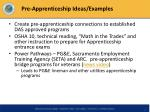 pre apprenticeship ideas examples