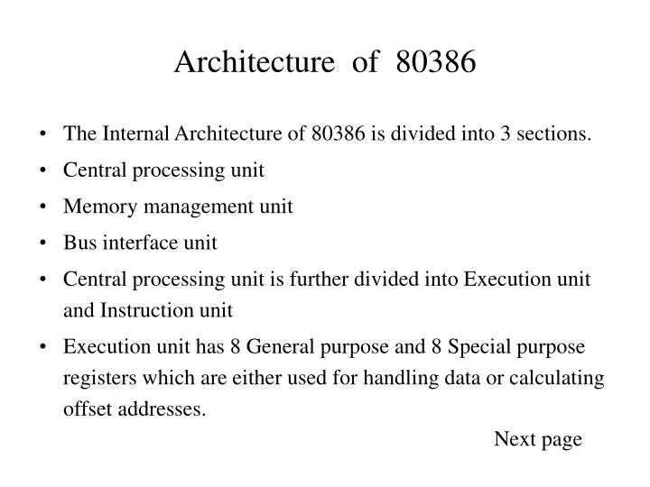architecture of 80386 n.