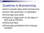 guidelines to brainstorming