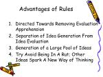 advantages of rules