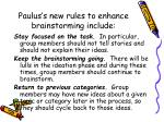 paulus s new rules to enhance brainstorming include