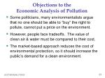 objections to the economic analysis of pollution
