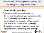 examples of anticipation based on analogy making and context