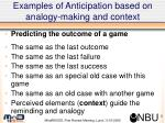 examples of anticipation based on analogy making and context2