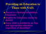 providing an education to those with nad